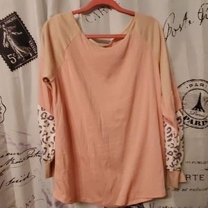 Womens dress up baseball type shirt , hues peach ,